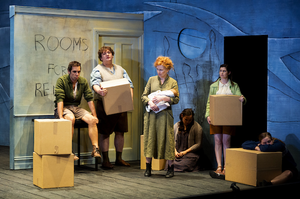 The disappearing baby, with Guy Simon, Benjamin Oakes, Alison Whyte, Ebony McGuire, Arielle Gray and Mikayla Merks. Photo: Pia Johnson